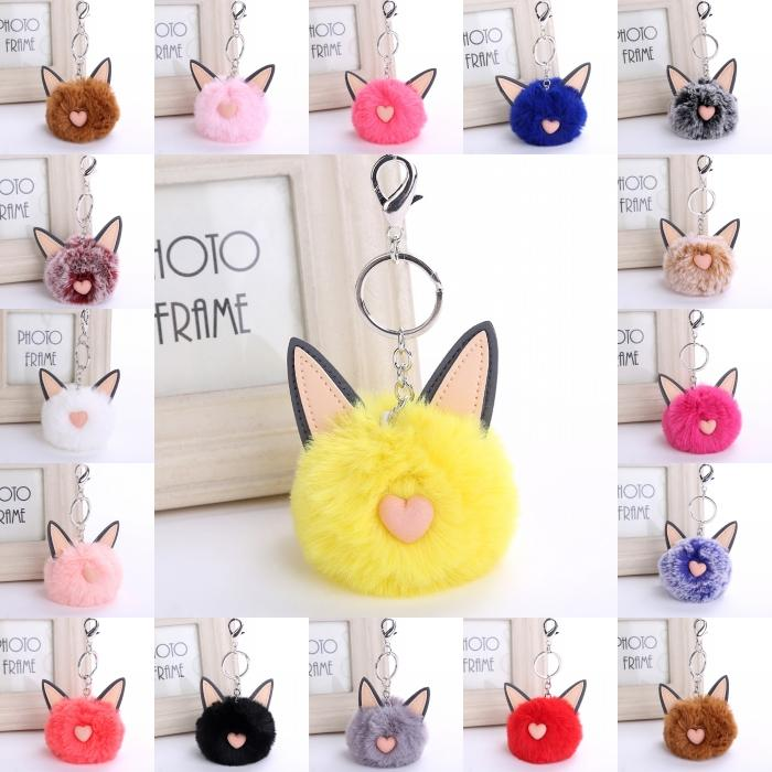 Free DHL 16 Styles Heart Shape Cat Ear Keychain Fur Ball Key Rings Multicolor Puffy Fur Cat Keys Chains Hairy Animal Keyfob D275Q
