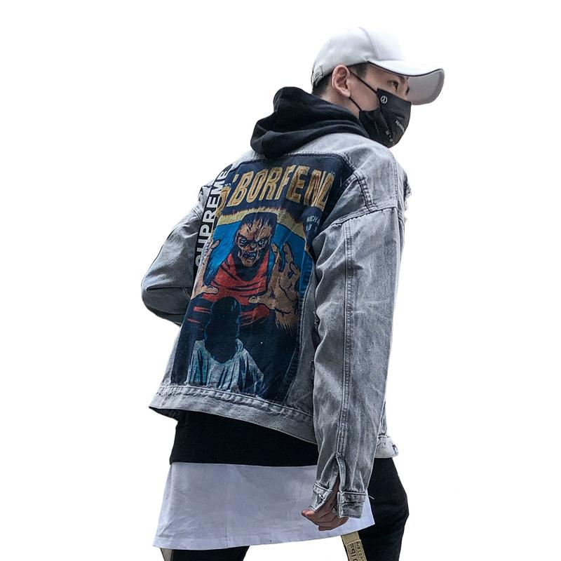 ff422e6cb Autumn Vintage Frayed Hole Denim jacket High Street Hip Hop Demon Print  Patch Designs Leisure Men Women Loose Gray Cowboy Coats
