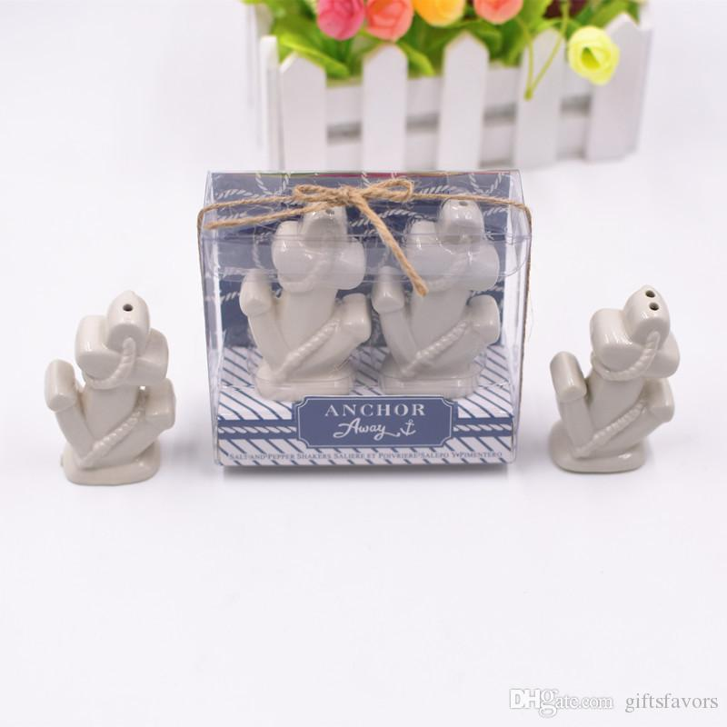 Ceramic anchor design ceramic salt and pepper shakers wedding gifts for guests souvenirs