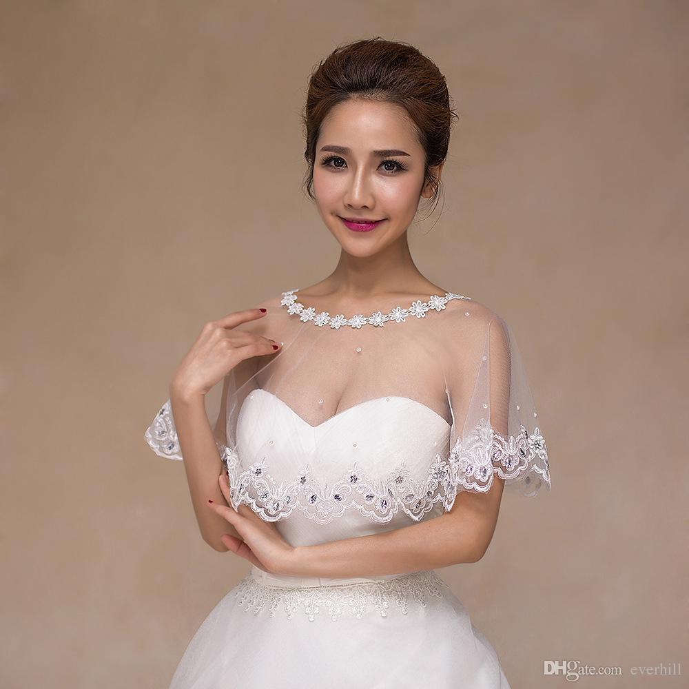 JaneVini White Girls Lace Bolero Bridal Shawls Evening Wedding Dresses Cape Short Wraps Off Shoulder Crystal Pearls Women Shrug Wholesale