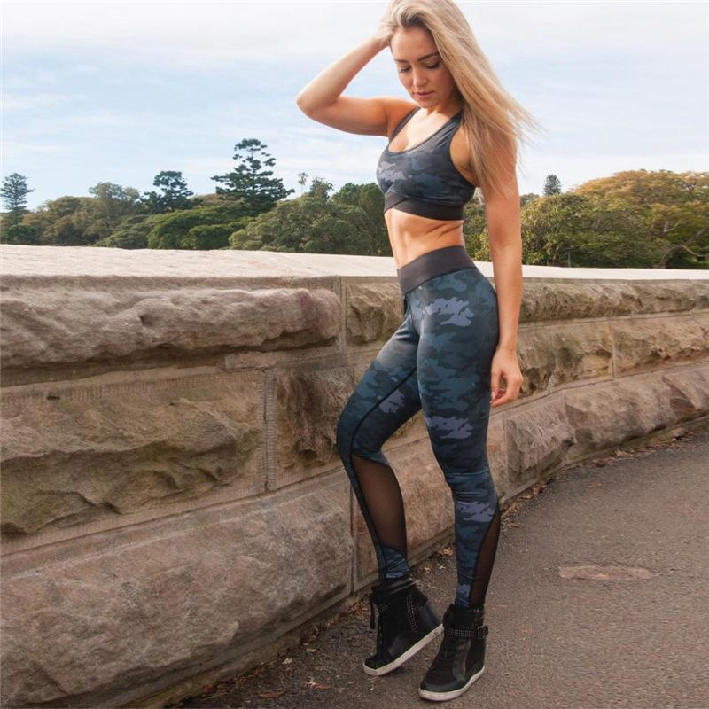 All'ingrosso Donne libere di trasporto Yoga Set Sport Suit Camouflage stampa Formazione top pantaloni Outdoor Sportswear fitness Running Clothes