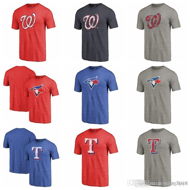 e86590984d0 2019 Washington Nationals Texas Rangers Toronto Blue Jays Fanatics Branded  Logo Distressed Team Tri Blend T Shirt Heathered Navy Royal Red From  Jerseys boys ...