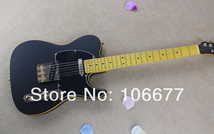 2014 New Arrival Black Headstock F Telecaster Matt Black Paint Electric Guitar Golden Hardware Tele Guitarv