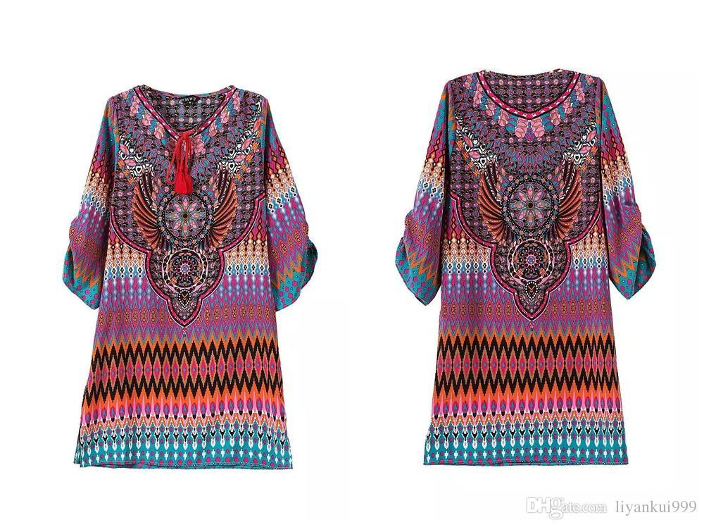 2018 Women Summer Bohemia Mexican Embroidery Like Peasant Short Dress Hippie Boho Dress Ethnic Loose Mini Dress