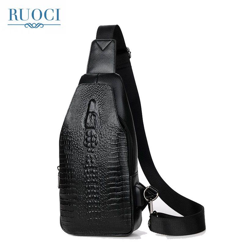 RUOCI Fashion Alligator Designer PU Leather Men Chest Bag Casual Travel  Sling Men Shoulder Bag Crossbody Bags Back Pack Rucksack Laptop Backpack  Beach Bags ... bc1506f690bf8
