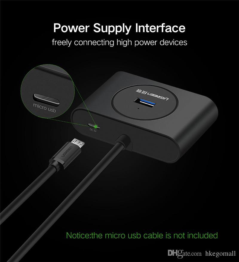 Ugreen USB HUB 3.0 Divisor USB externo de 4 puertos con puerto Micro Power para iMac Ordenador portátil Accesorios HUB USB 3.0