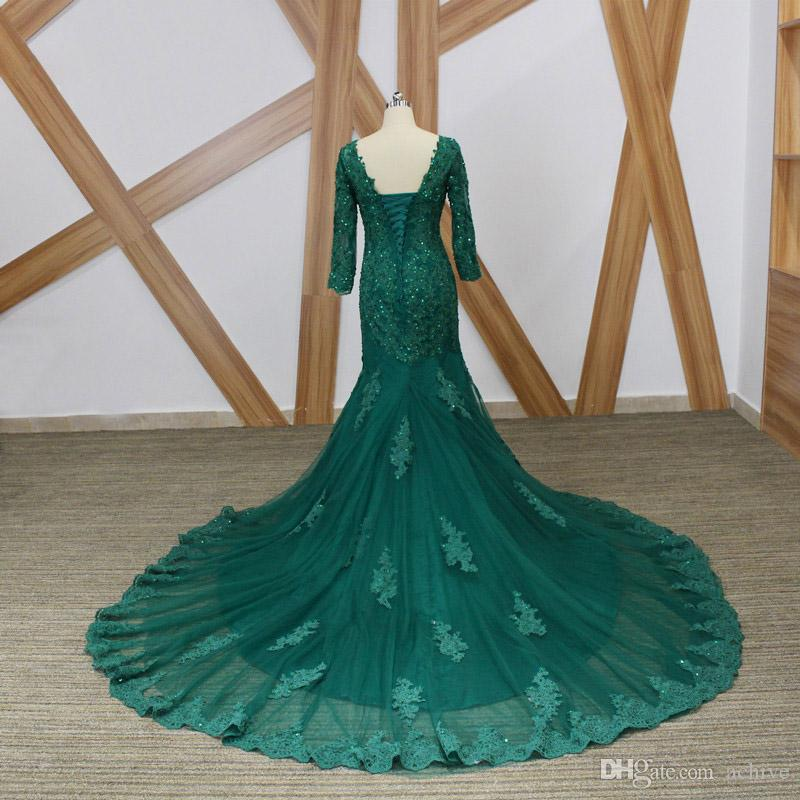 Emerald Green Mother of the Bride Dresses Long Sleeves Prom Dress V Neck Beaded Lace Special Occasion Gowns 2018 Long Formal Evening Dresses