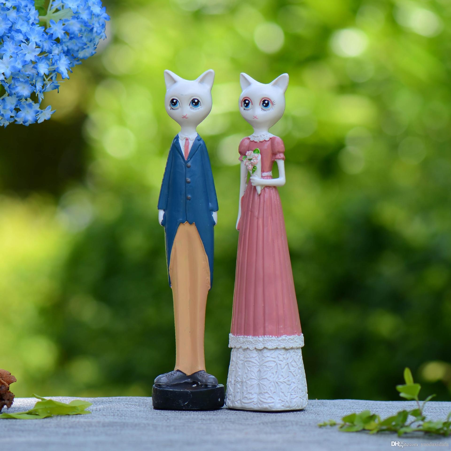 2018 Cute Cat Mr. / Ms Vintage Home Decor Garden Decoration Resin ...