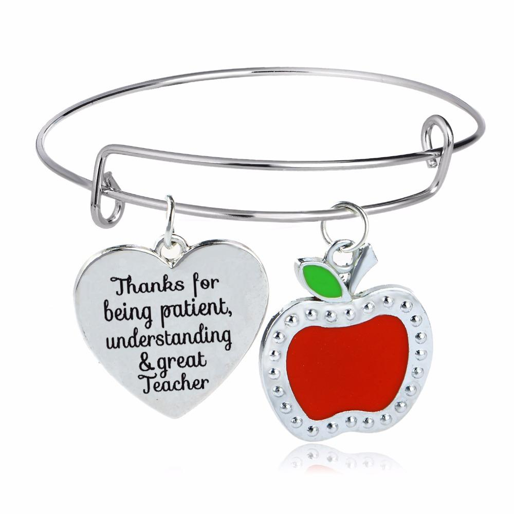 /Lo Thanks For Being Patient Understanding & Great Teacher Bangle Jewelry Apple Love Heart Charms Bracelet Teachers Gifts Gold Bangle Bangle Bracelet From ...