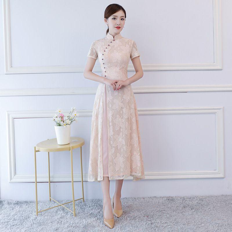e4f41587d8c81 2019 Summer Pink Aodai Dress Chinese Dress Long Cheongsam Vietnam  Traditional Robes Aodai Graceful Stand Collar Slim Lace Qipao From  Carawayo, ...
