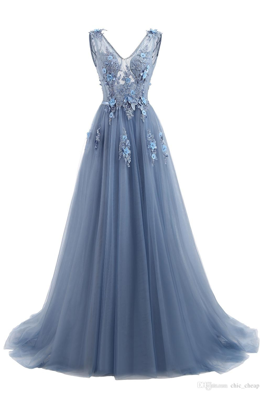 V-Neck Applique Light Blue Tulle Pearls Floor Length A-Line Elegant Evening Dresses Bridesmaid Dresses 2018 High Quality Prom Dresses