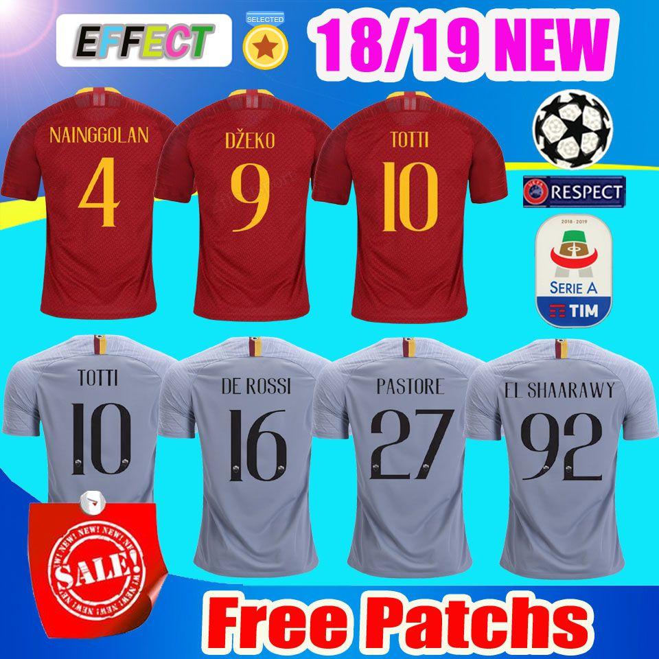 2018 2019 Camisas De Futebol De Roma Tailândia DZEKO PEROTTI PASTORE TOTTI  Camisa 18 19 Camisa De Futebol DE ROSSI JESUS EL SHAARAWY como maillot de  foot ... 0ccc93d4f97e5