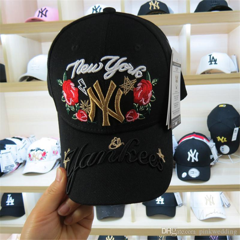 High Quality Luxury NY Rose And Letter Embroidery Caps Long Brim ... 83a994c36070