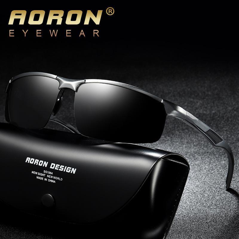 c02a4b569 Compre 2018 Novos Homens Polarizados Sem Aro De Alumínio Óculos De Sol Para  Condução Polarizada Moda Eyewear Oculos UV400 Óculos De Sol 8001 1 De  Hilaryw, ...