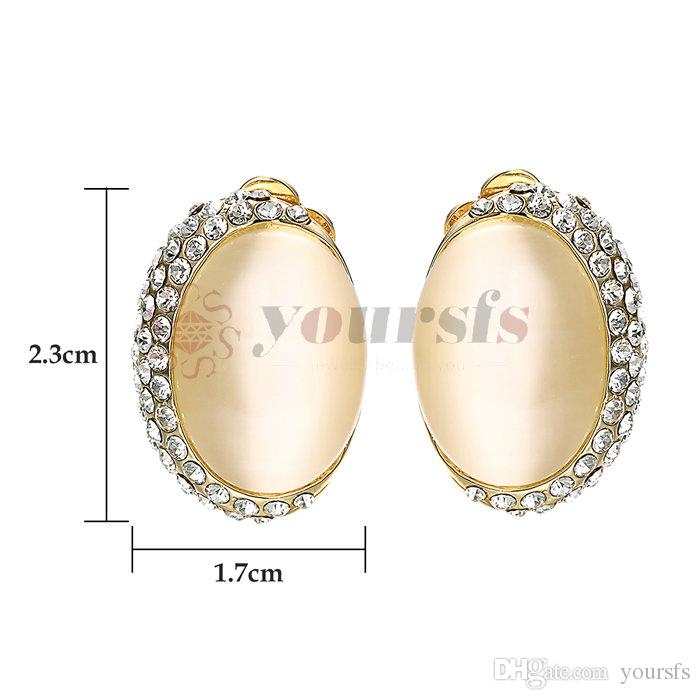 Yoursfs Fashion Jewelry Rose Gold Color Trendy OL Zircon Opal Earrings for Women Girls Drop Shipping Gift