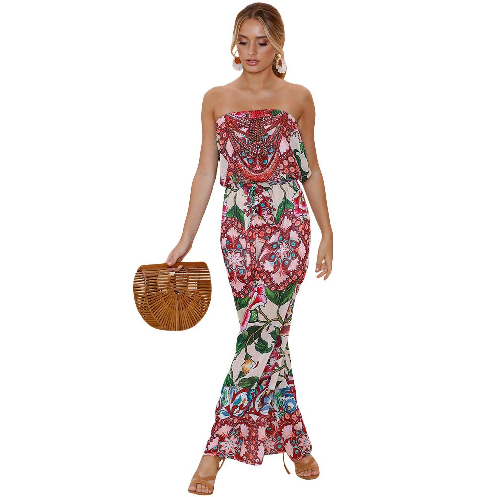 b44186e97dd Women Jumpsuits Floral Print Off Shoulder Backless Boho Loose Playsuit Pink Rompers  Women Jmpsuit 2018 Sexy Beach Summer Style Online with  46.03 Piece on ...