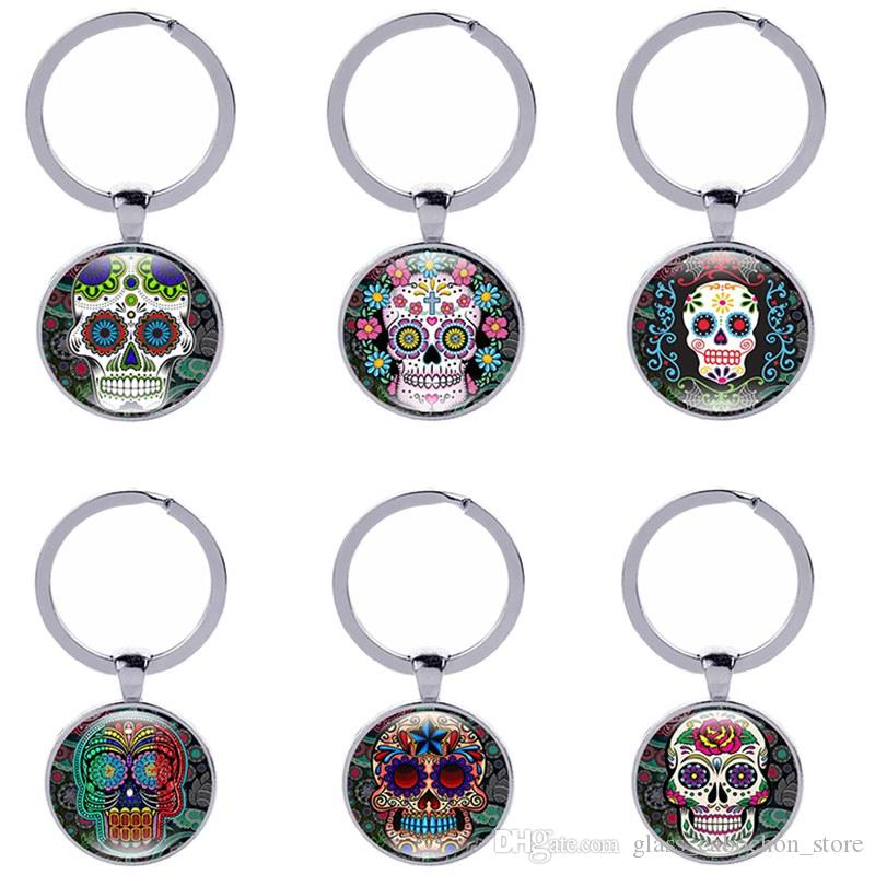 Sugar Skull Keychain Vintage Candy Skeleton Head Gothic Style Keyrings Crystal Domed Glass Cabochon Gifts Women Jewelry Wholesale