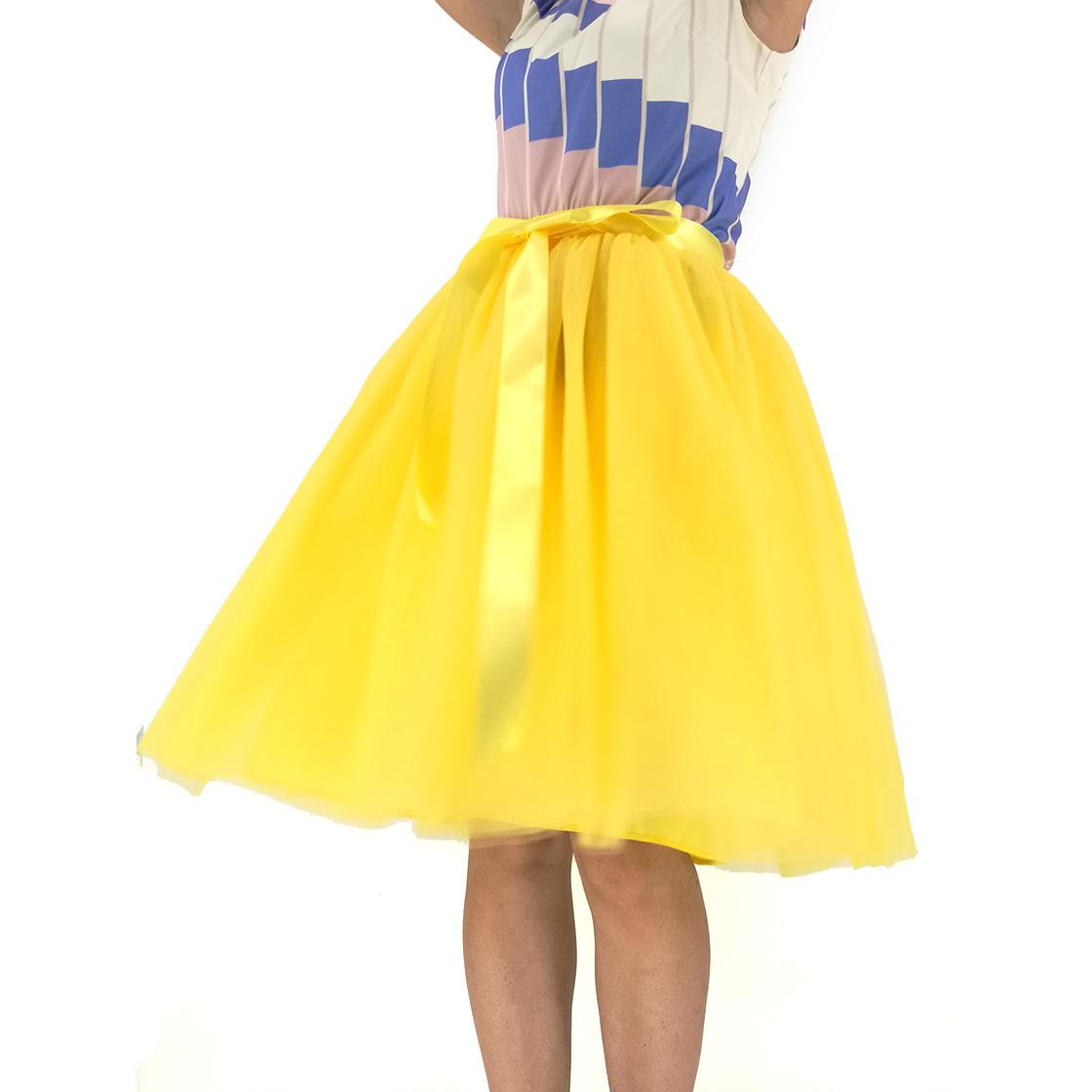 737bd7b198e5c 2019 Custom Made Tulle Skirts Womens Yellow Adult TUTU Skirt Elastic High  Waist Pleated Midi Skirt 60CM Length From Watch2013