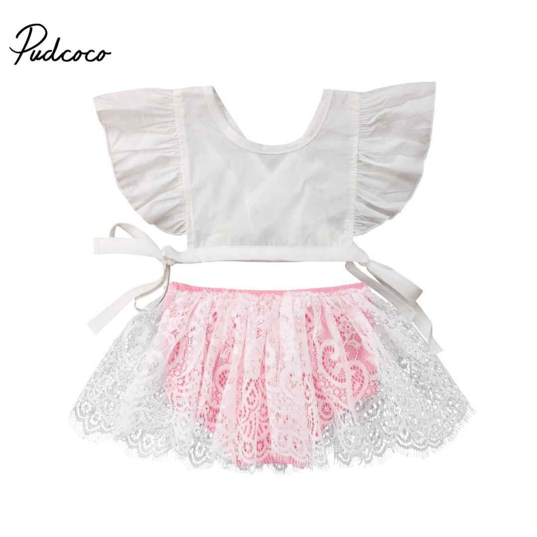 a426a4d7ccd0 0-3T Kids Baby Girls Princess Party Birthday Outfits Crop Tops+Lace Tutu  Bottom Skirts 2Pcs Kids Girls Summer Clothing