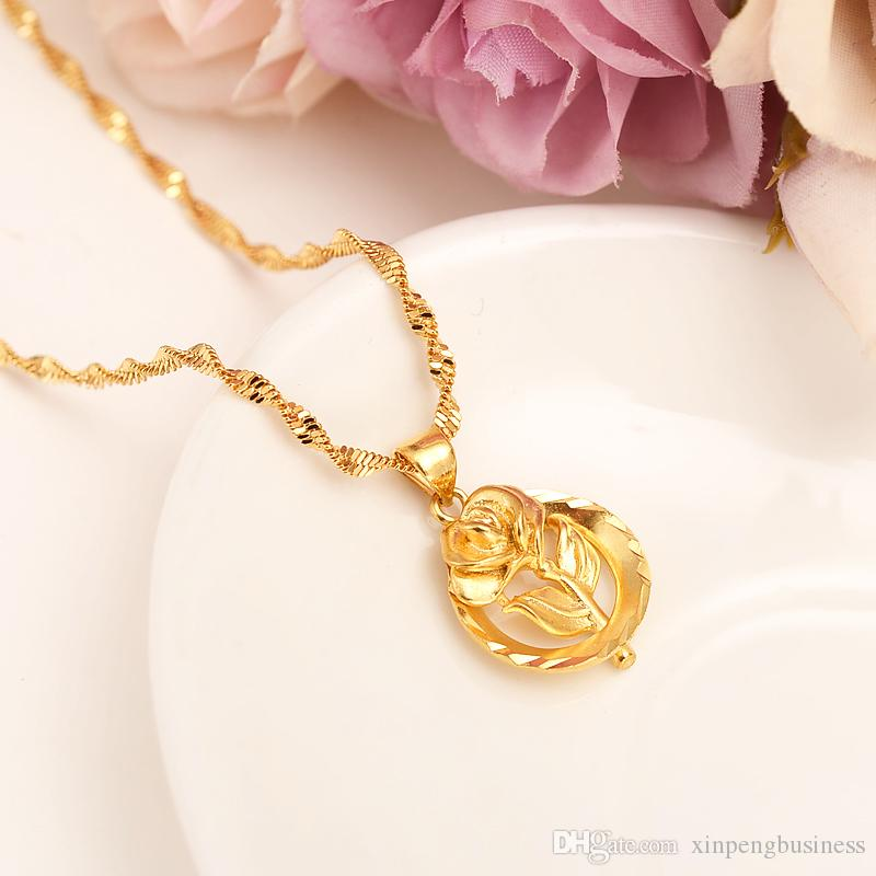 Dubai PENDANT Women Pendant Necklace 24k Fine Solid Yellow Gold GF girls party Jewelry Africa/Arabrose Sweetheart rose Flower Gifts