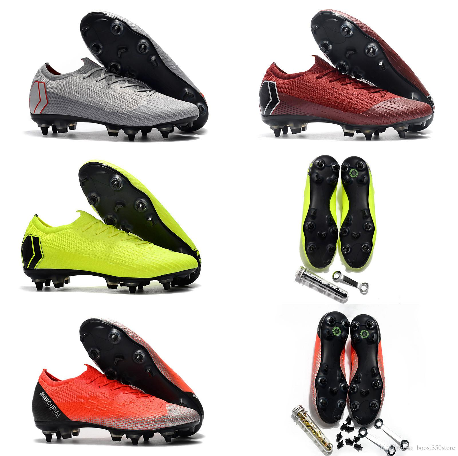 Compre Alta Qualidade Vapor Mercurial VI Elite SG Aço AC Spikes  Fluorescente Verde Laranja Cinza Vermelho Baixo Sapatos De Futebol Tamanho  39 45 Chuteiras ... ef451310ad98a