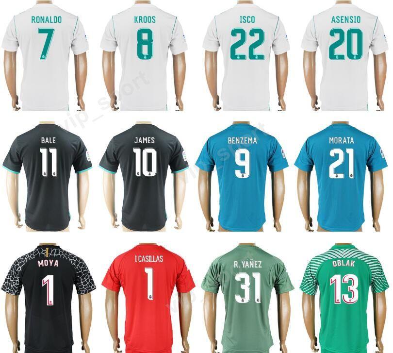 17 18 Real Madrid Camiseta De Fútbol Kits Hombres 7 RONALDO Soccer Jersey  Thai Custom 8 TONI KROOS 22 ISCO 20 ASENSIO 10 MODRIC 11 BALE 9 BENZEMA Por  ... ebf68ddb6711f