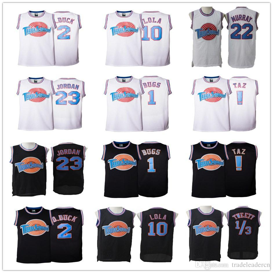 e141c511d39 2019 Space Jam 23 Michael 1 Bugs 2 Daffy Duck 10 Lola Bunny TAZ 1 3 Tweety  22 Bill Murray Curry Black White Movie Tune Squad Jerseys From  Tradeleadercn