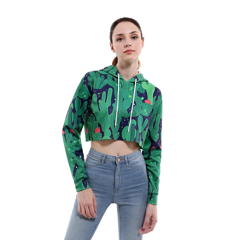 1bc4ce119 2019 Buteefull Crop Top Hoodie Women 3D Cactus Print Casual Harajuku Kawaii  Spring Autumn Slim Tops Sweatshirt Plus Size Outlet From Lotustoot, ...