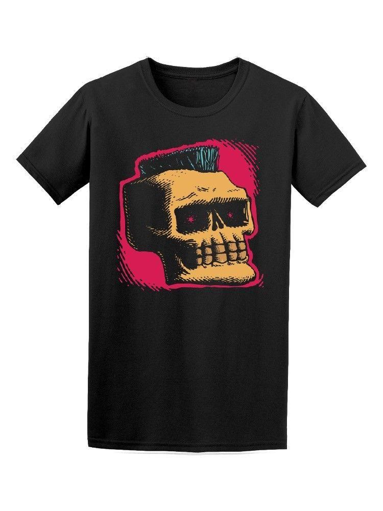 3279ad0aa Skull With Mohawk Drawing Men's Tee -Image by Shutterstock Short Sleeve  Fashion Summer Printing Casual Mens Hipster Short Sleeve
