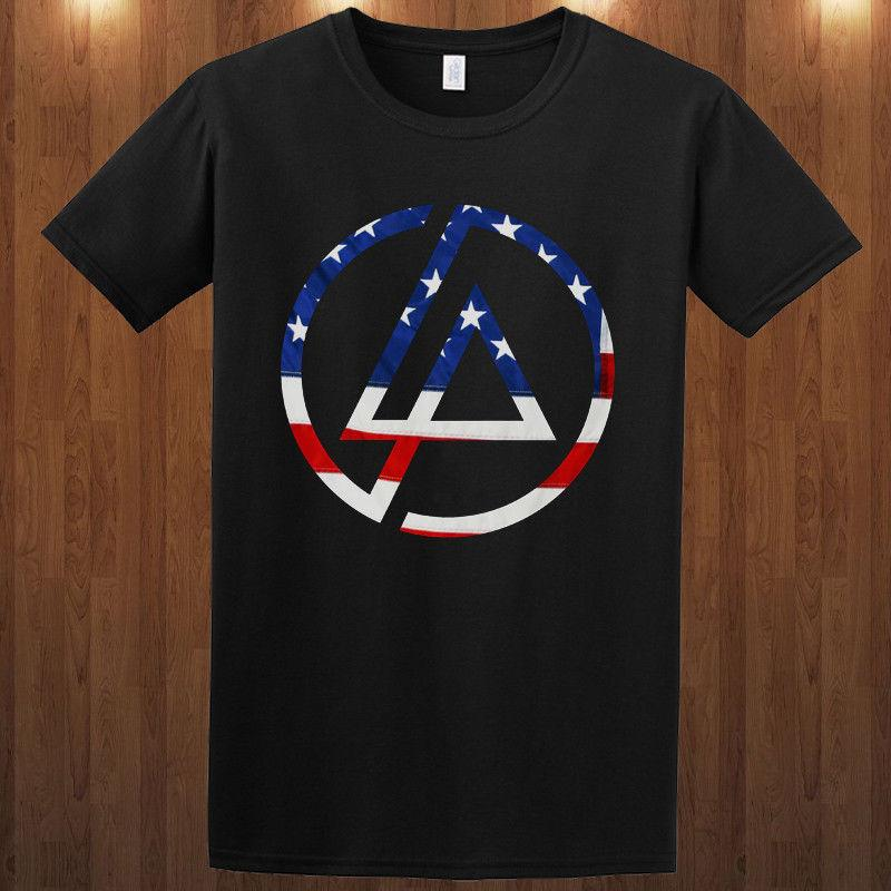 Linkin Park EUA Bandeira Tee Rap Rock Chester Bennington S-3xl T-shirt Da Luva do T-shirt Homme T Camisa 2018 Moda Curto