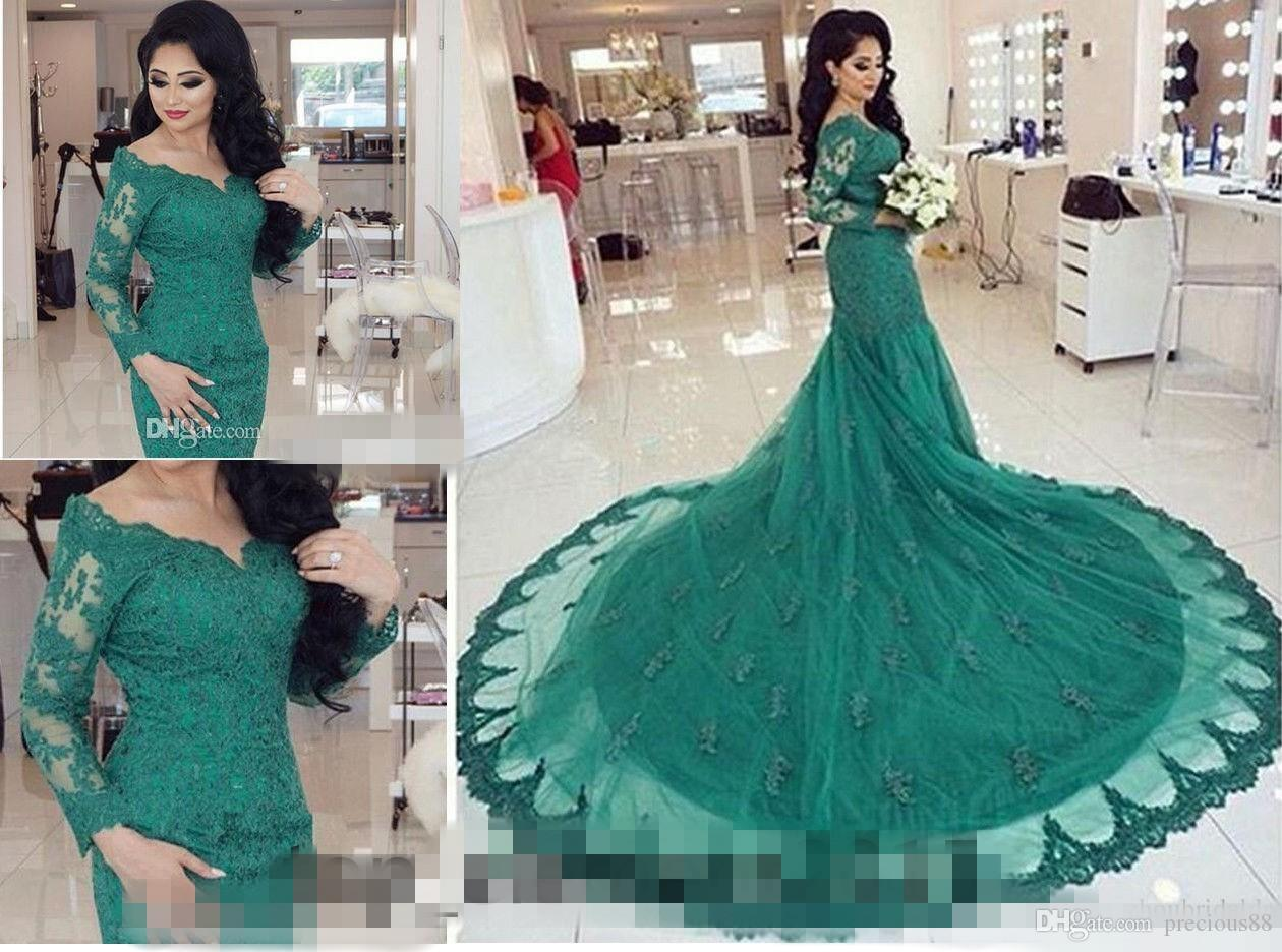 Vintage Lace 2018 Green Long Sleeve Wedding Dress Country Style ...
