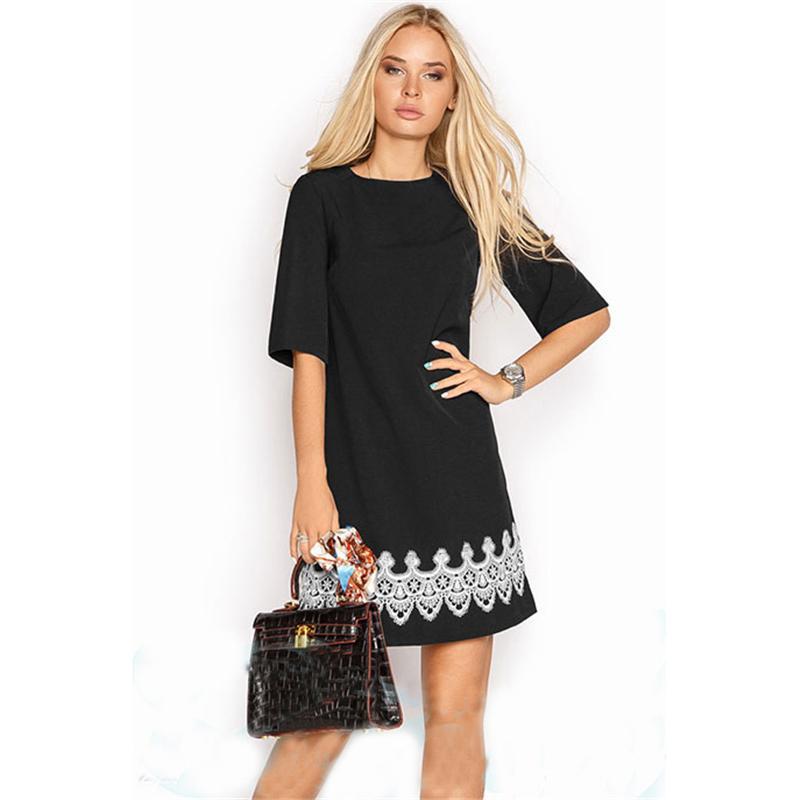 2018 New Arrival 2018 Summer Women Fashion Lace Casual Mini Dress Black  White Short Sleeve O Neck Beach Tshirt Dresses From Salom, $23.3    Dhgate.Com