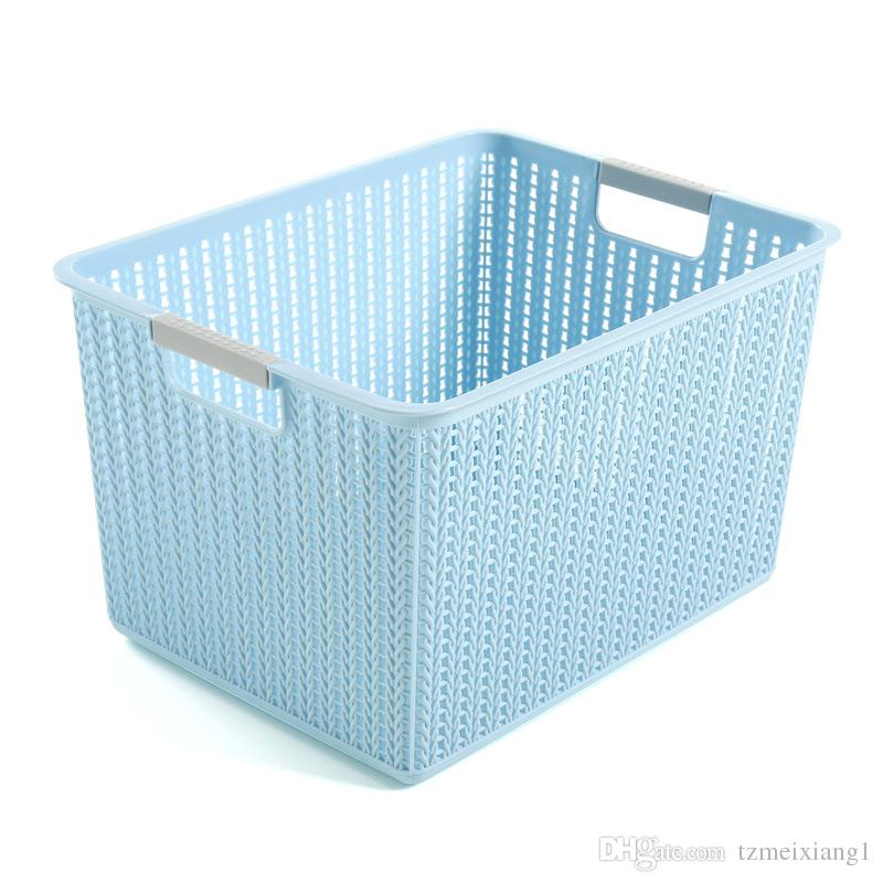 Medium Rattan Storage Basket Plastic PP Storage Basket Hollowing out ...