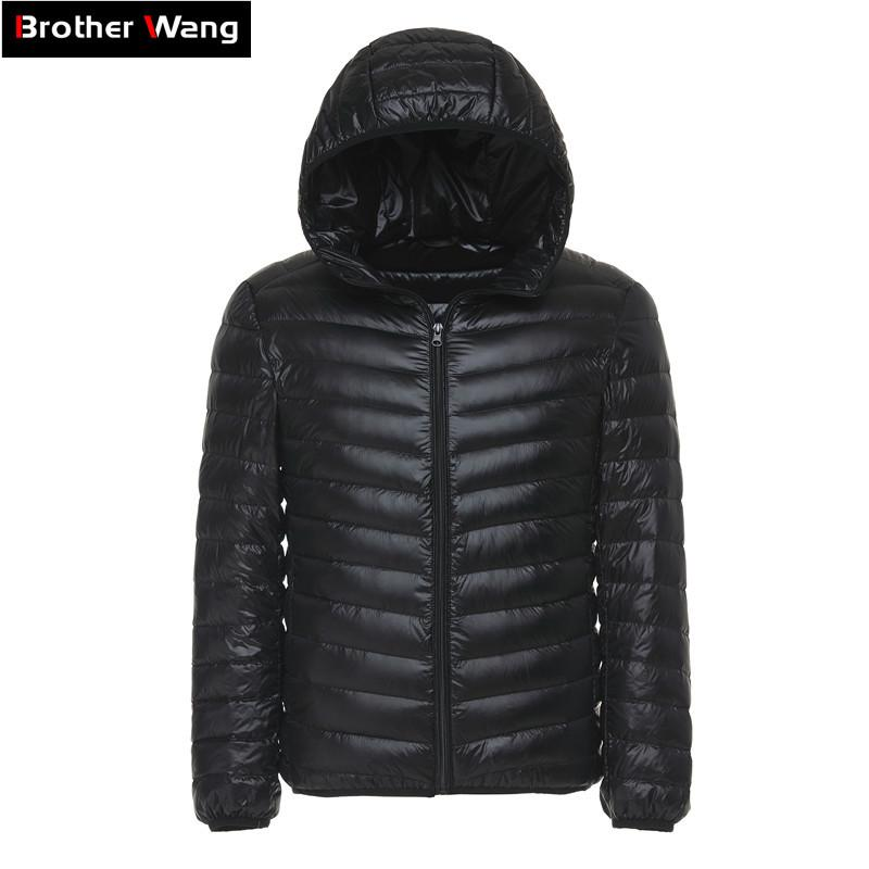 f4bfe464afcb 2018 Winter Men s Light Down Jacket Clothes Fashion Casual Hooded Warm  White Duck Down Coat Male Brand Clothing Y181101 Online with  38.8 Piece on  ...
