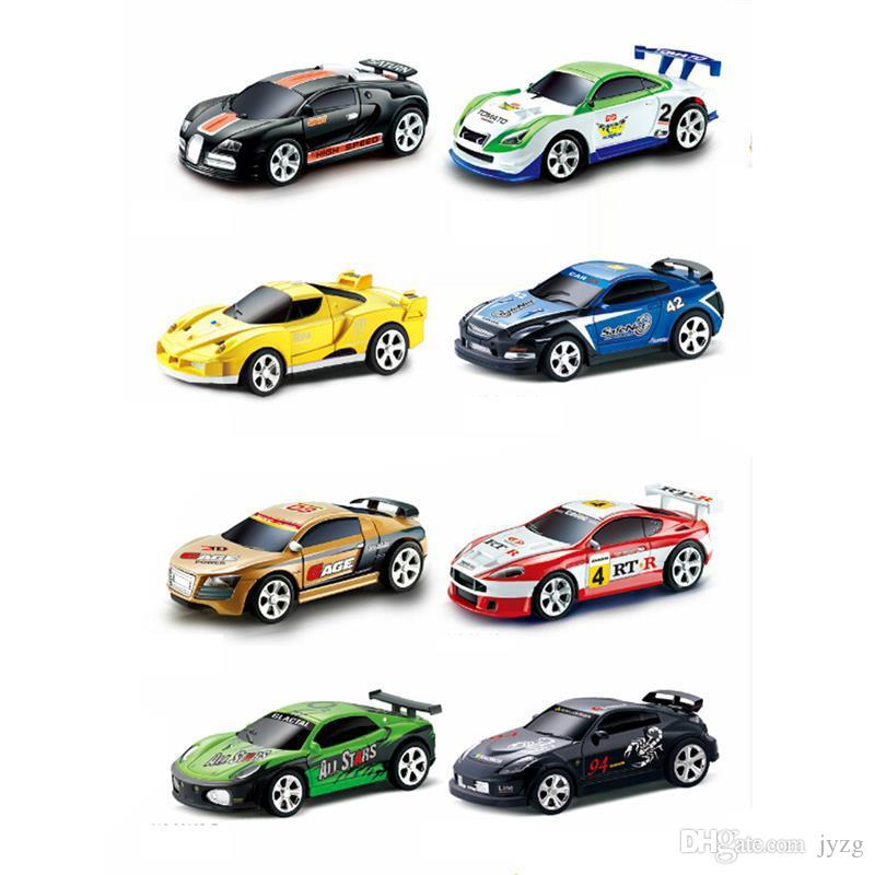 Radio Remote Control Racing Vehicle Kids Toys High Speed Mini Coke Can RC Car for Children Xmas Gift with Road Blocks