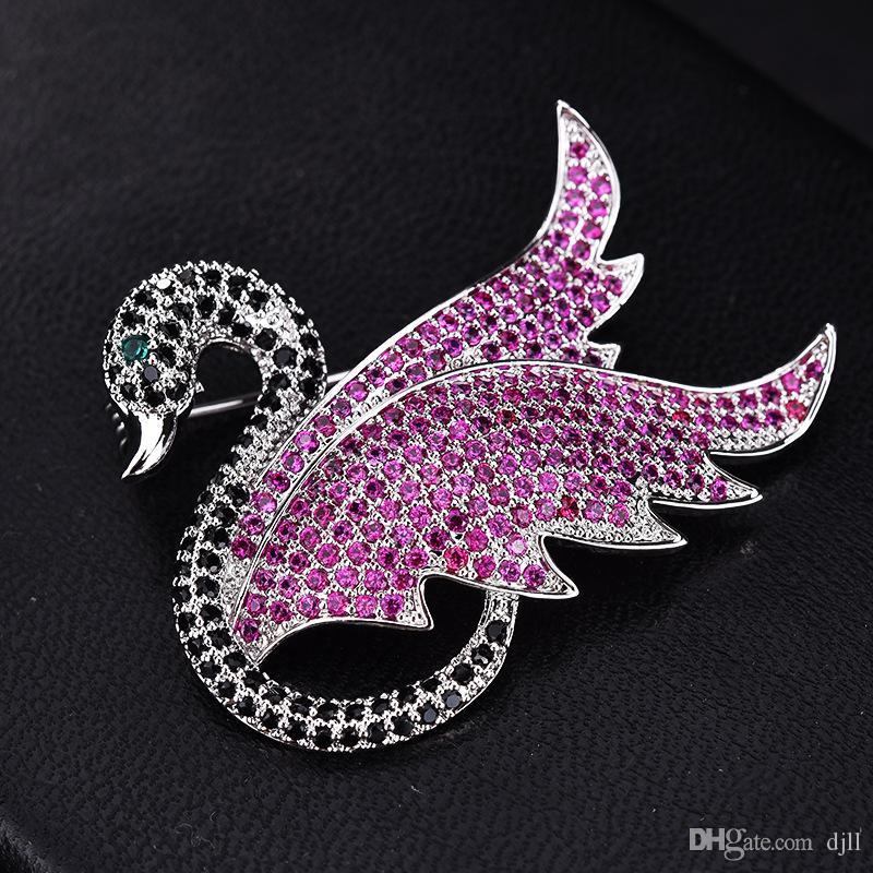 Elegante New Swan High-End-Brosche Micro-Intarsien Zirkon Corsage Female Pin Mode Einfache Kleidung Kleider Zubehör Großhandel Pins Broschen