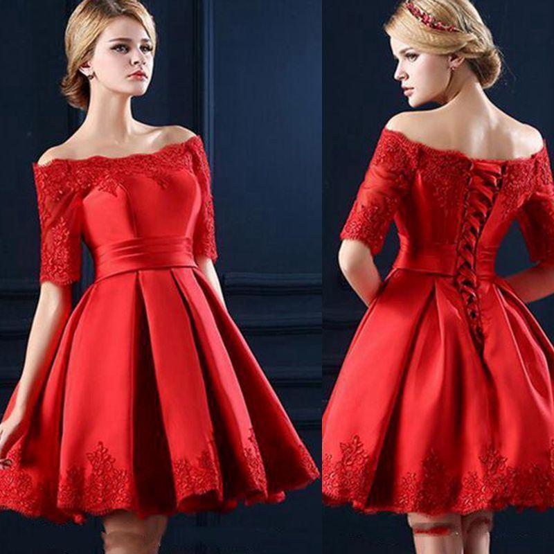 a2844584cf 2019 Little Red Satin Homecoming Dresses A Line Off Shoulder Lace Appliques  Pleats Mini Short Prom Party Gowns Celebrity Cocktail Dresses Sale Dress  Short ...