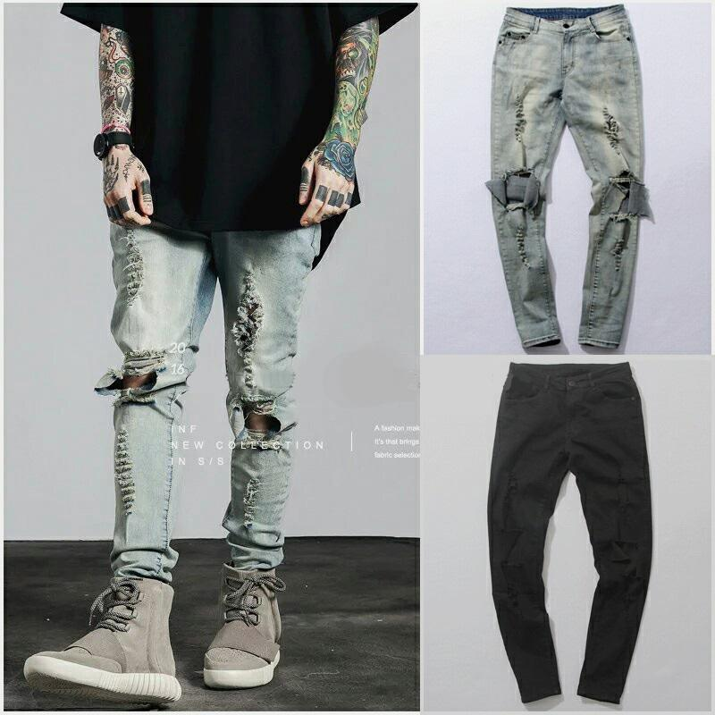 105f724b7d4f64 2019 Ripped Jeans For Men Male Skinny Distressed Slim Famous Brand Designer  Biker Hip Hop Black Denim Hole Jeans Pants Kanye West From Movearound, ...