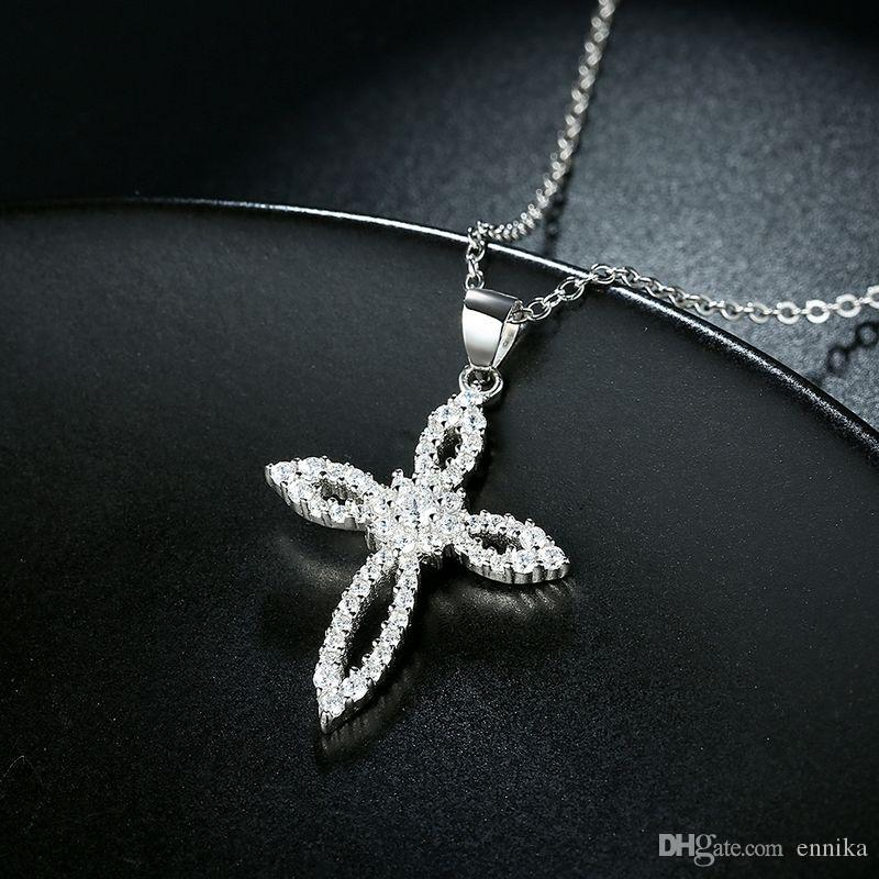 Sterling Silver 925 Necklace Lady Zircon Jewelry Pure Silver Flower Cross Pendant Necklace n111