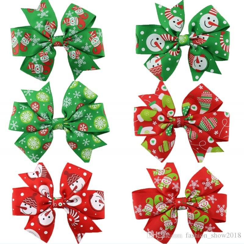 f438ce6e902bc 2019 Christmas Hair Bow Clips Swallowtail Bows Baby Girl Kids Hair ...