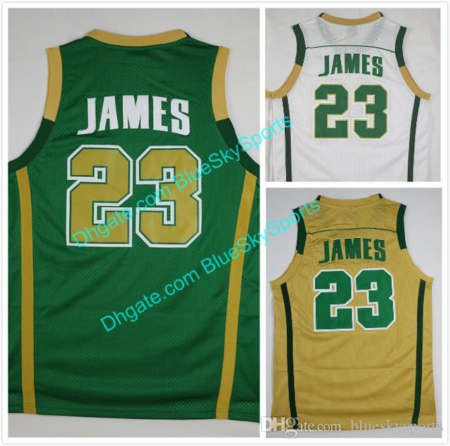 100% authentic 1e452 da46d Mens #23 LeBron James Jersey Green White St. Vincent Mary High School Irish  Basketball Jerseys Shirt Uniforms Free Shipping Size S-2XL