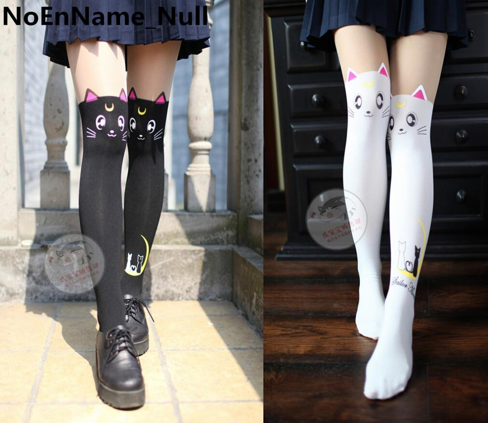 c277e5ad538 2019 Anime Sailor Moon Cosplay Luna Cat Pattern Pantyhose Tights Socks  Stockings 3D Print Black White From Boniee