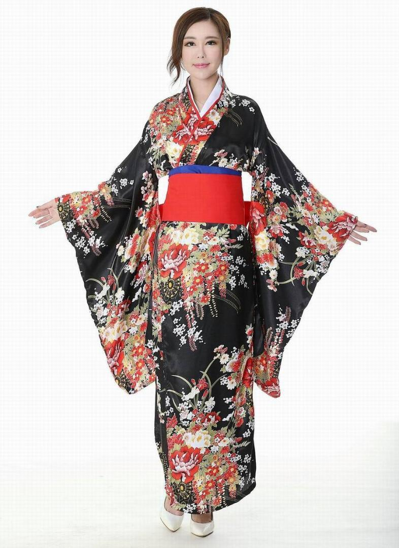 Japanese kimono traditional girl Geisha girl cosplay Hell girls Enma Ai  womens females Cherry suits cosplay floral cos Costume