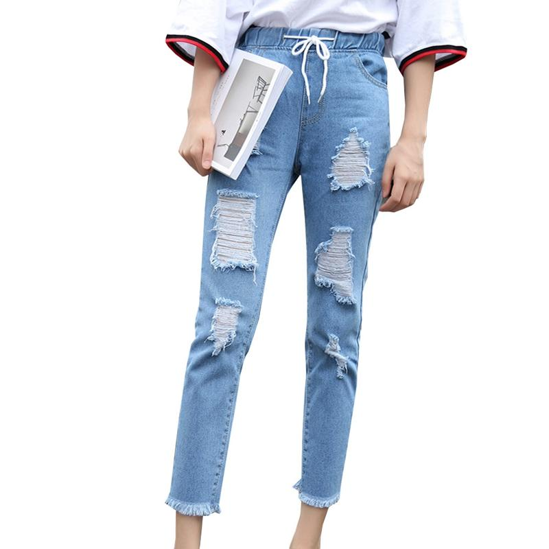 5b12a1d3bca5 2019 Women Summer Pants Casual Trousers For Ladies Blue Ripped Mid Waist  Drawstring Skinny Denim Calf Length Jeans New From Sadlyric, $22.04 |  DHgate.Com
