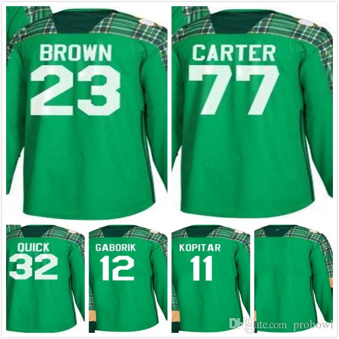 Green St. Patrick S Day LA Kings Jerseys 32 Jonathan Quick 23 Dustin Brown  12 Marian Gaborik 77 Jeff Carter 11 Anze Kopitar UK 2019 From Probowl 8e42ea088