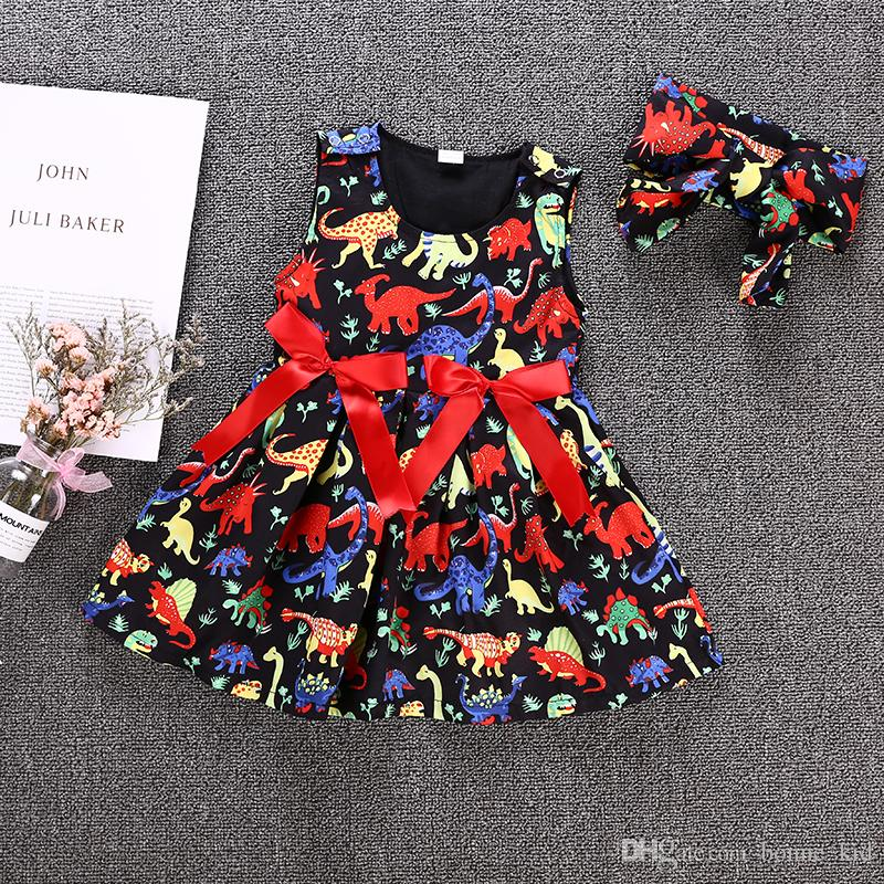 6e5dda23c3 2019 Baby Kids Girls Black Princess Tutu Dress Dinosaur Animal Vestidos  Tulle Red Bowknot Ribbon Sleeveless Dresses Summer Sundress Boutique 1 6Y  From ...