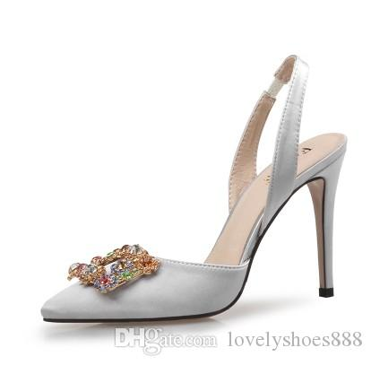 Rhinestone silk diamond crystal pointed toe nude color high heel slling back high heel party Event dress shoes 429