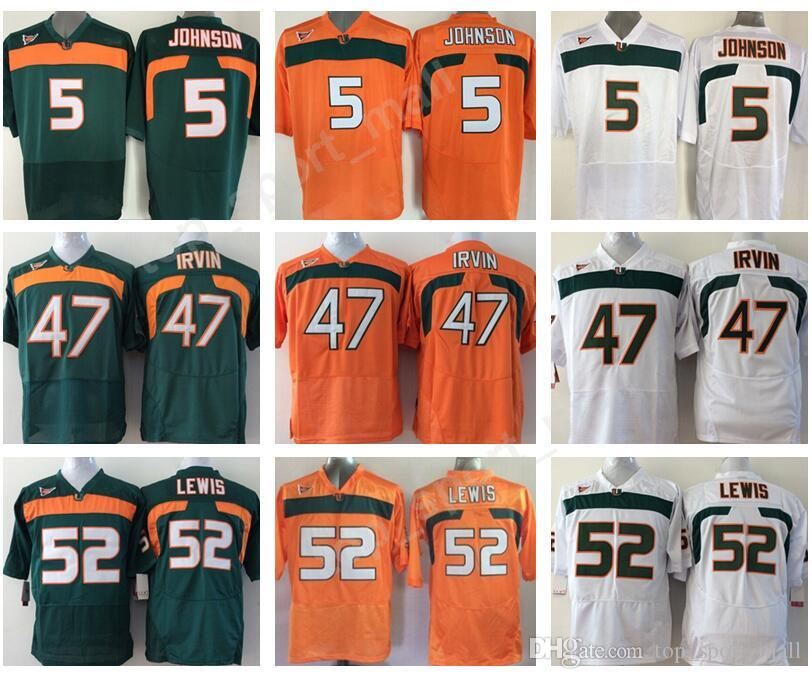 separation shoes c808b 09ce4 Miami Hurricanes College 52 Ray Lewis Jersey Men Orange Green White 5 Andre  Johnson 47 Michael Irvin Football Jerseys University Stitched