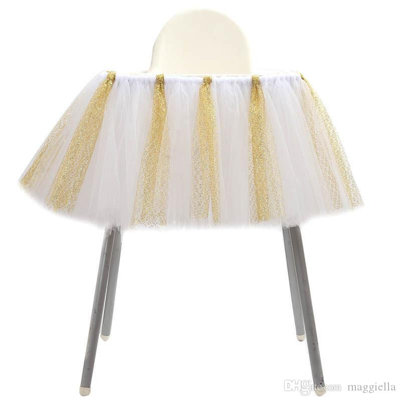 Tulle Glitter Table Jupes Tutu Haute Chaise Jupe Bébé Douche Décorations pour Garçons Filles Fête 1er Fête D'anniversaire Fournitures 100 * 35 cm