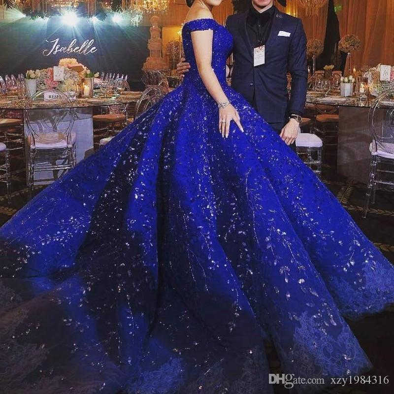 Luxury Dubai Rhinestone Evening Dress Beads Crystal Applique Off Shoulder Evening Gown Gorgeous Ocean Blue Lace Ball Gown Engagement Dresses
